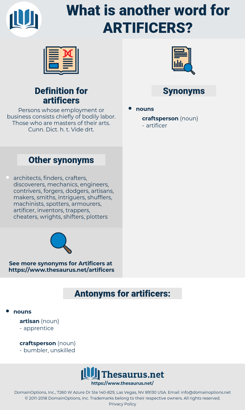 artificers, synonym artificers, another word for artificers, words like artificers, thesaurus artificers