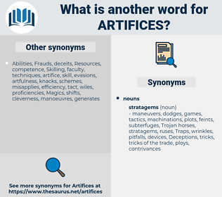 artifices, synonym artifices, another word for artifices, words like artifices, thesaurus artifices
