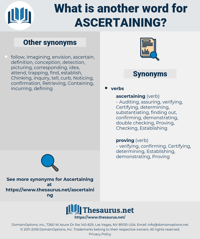 Ascertaining, synonym Ascertaining, another word for Ascertaining, words like Ascertaining, thesaurus Ascertaining