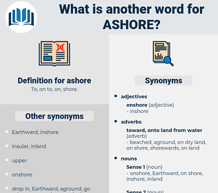 ashore, synonym ashore, another word for ashore, words like ashore, thesaurus ashore