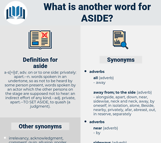 aside, synonym aside, another word for aside, words like aside, thesaurus aside