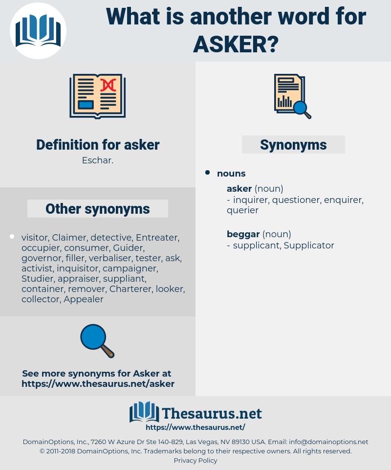 asker, synonym asker, another word for asker, words like asker, thesaurus asker