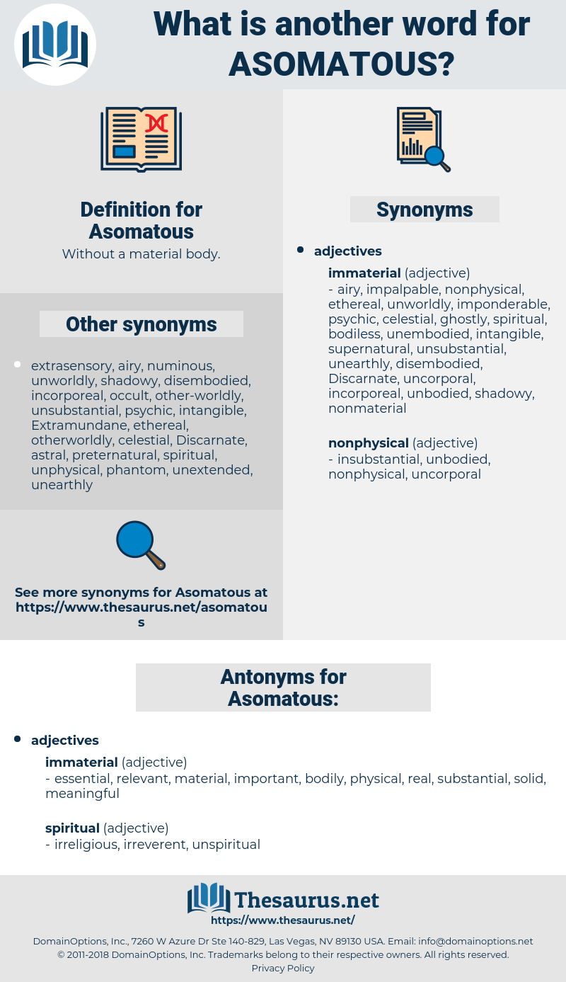 Asomatous, synonym Asomatous, another word for Asomatous, words like Asomatous, thesaurus Asomatous
