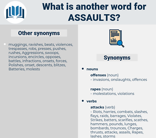 assaults, synonym assaults, another word for assaults, words like assaults, thesaurus assaults