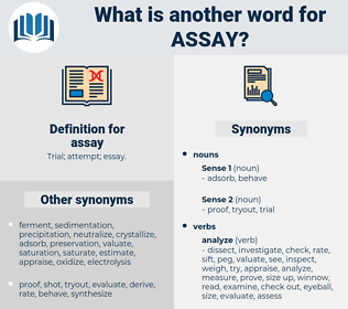 assay, synonym assay, another word for assay, words like assay, thesaurus assay