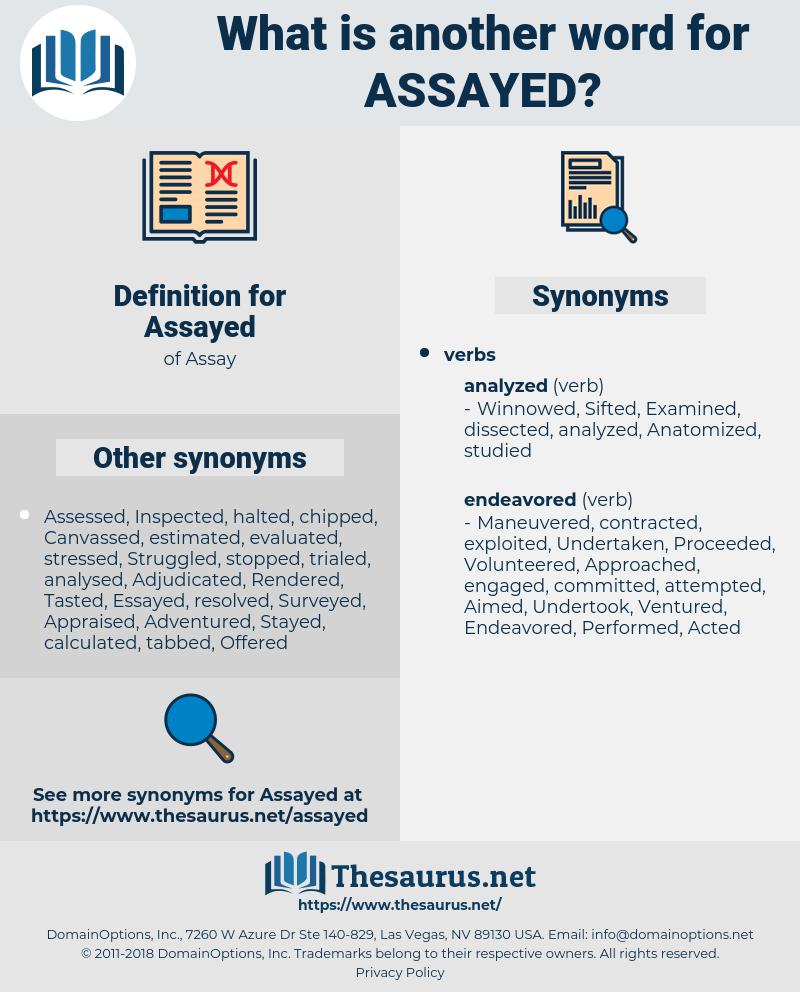 Assayed, synonym Assayed, another word for Assayed, words like Assayed, thesaurus Assayed