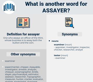 assayer, synonym assayer, another word for assayer, words like assayer, thesaurus assayer