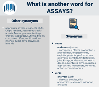 assays, synonym assays, another word for assays, words like assays, thesaurus assays