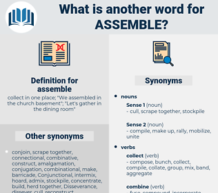 assemble, synonym assemble, another word for assemble, words like assemble, thesaurus assemble