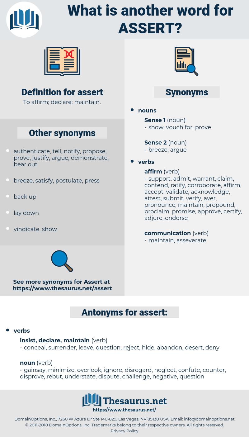 assert, synonym assert, another word for assert, words like assert, thesaurus assert