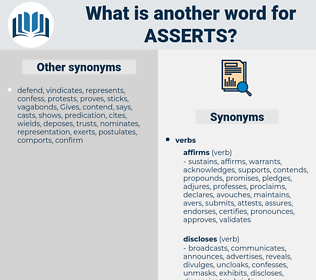 asserts, synonym asserts, another word for asserts, words like asserts, thesaurus asserts