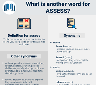 assess, synonym assess, another word for assess, words like assess, thesaurus assess