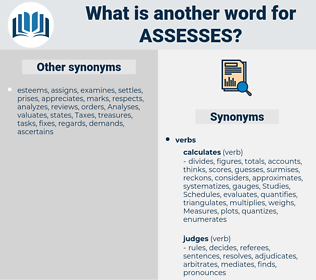 assesses, synonym assesses, another word for assesses, words like assesses, thesaurus assesses