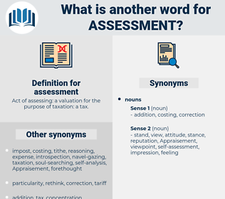 assessment, synonym assessment, another word for assessment, words like assessment, thesaurus assessment