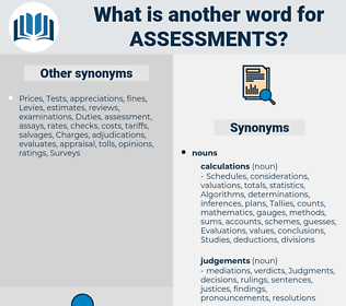 assessments, synonym assessments, another word for assessments, words like assessments, thesaurus assessments