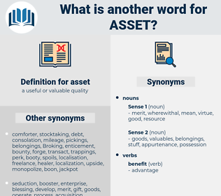 asset, synonym asset, another word for asset, words like asset, thesaurus asset