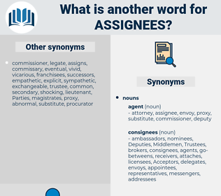 assignees, synonym assignees, another word for assignees, words like assignees, thesaurus assignees