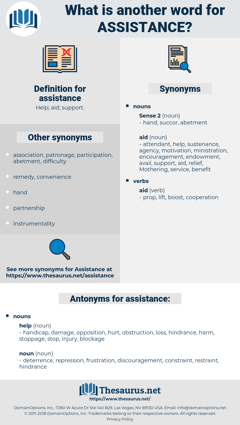 assistance, synonym assistance, another word for assistance, words like assistance, thesaurus assistance