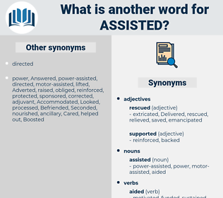 assisted, synonym assisted, another word for assisted, words like assisted, thesaurus assisted