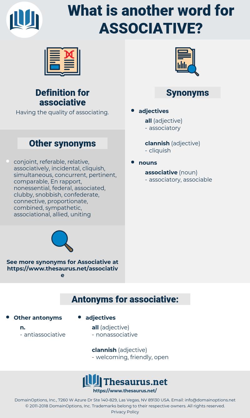 associative, synonym associative, another word for associative, words like associative, thesaurus associative