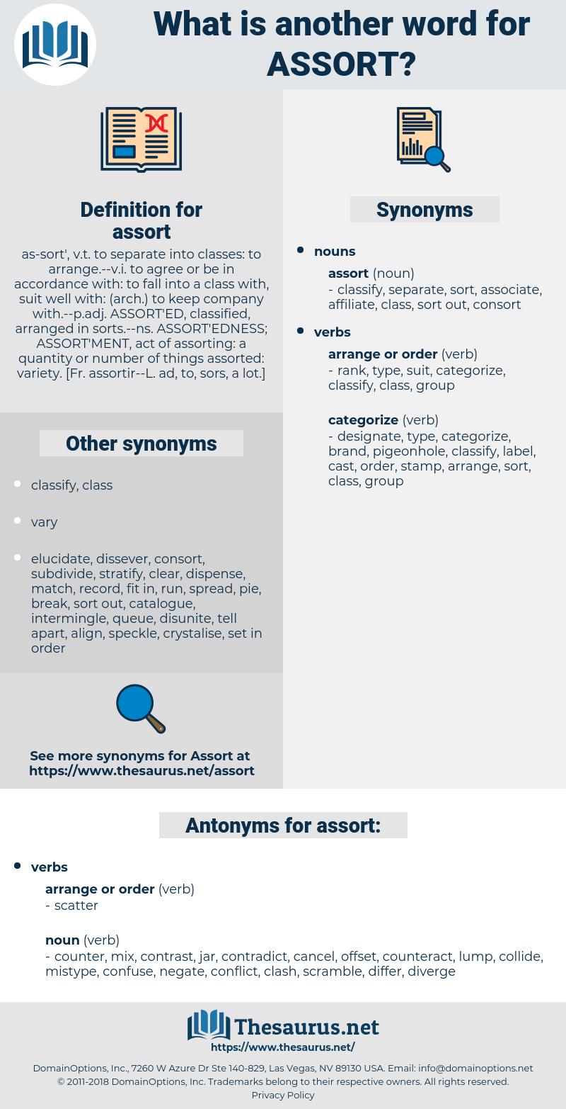 assort, synonym assort, another word for assort, words like assort, thesaurus assort