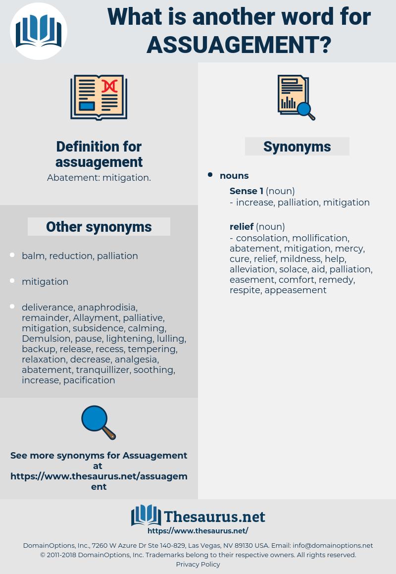 assuagement, synonym assuagement, another word for assuagement, words like assuagement, thesaurus assuagement