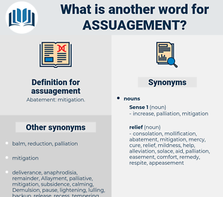 assuagement, synonym assuagement, another word for assuagement, words like assuagement, thesaurus assuagement
