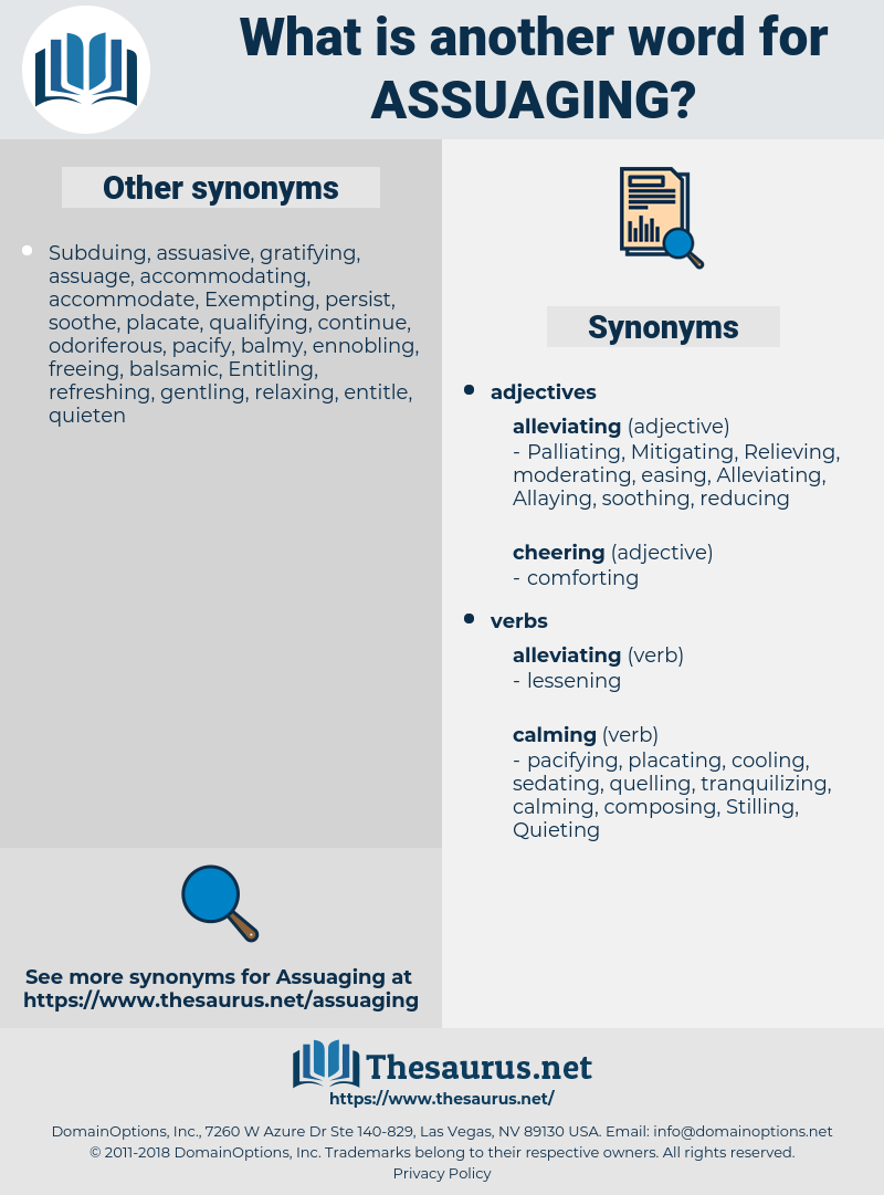 Assuaging, synonym Assuaging, another word for Assuaging, words like Assuaging, thesaurus Assuaging