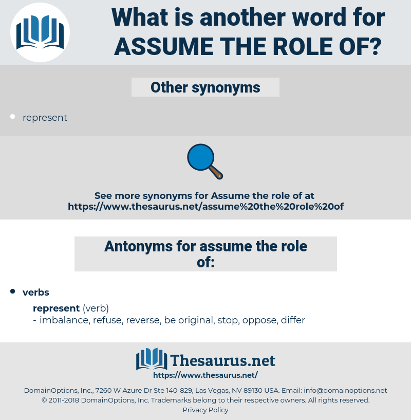 assume the role of, synonym assume the role of, another word for assume the role of, words like assume the role of, thesaurus assume the role of