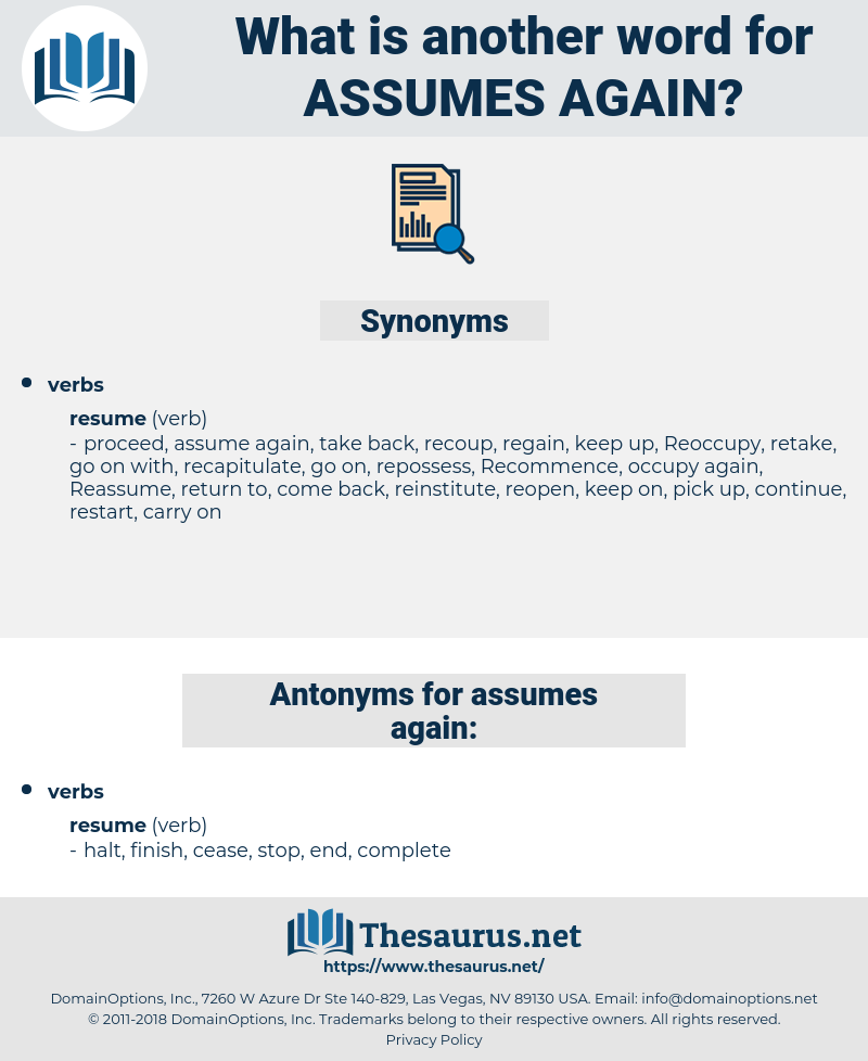 assumes again, synonym assumes again, another word for assumes again, words like assumes again, thesaurus assumes again