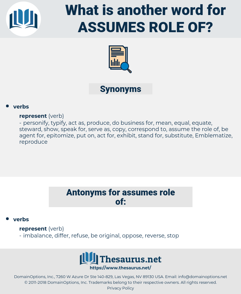 assumes role of, synonym assumes role of, another word for assumes role of, words like assumes role of, thesaurus assumes role of
