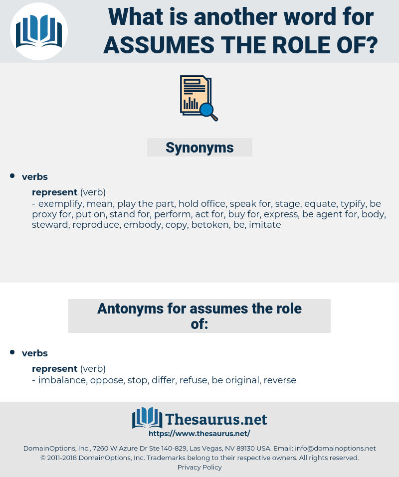 assumes the role of, synonym assumes the role of, another word for assumes the role of, words like assumes the role of, thesaurus assumes the role of