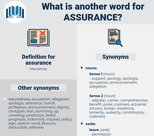 assurance, synonym assurance, another word for assurance, words like assurance, thesaurus assurance