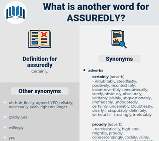 assuredly, synonym assuredly, another word for assuredly, words like assuredly, thesaurus assuredly
