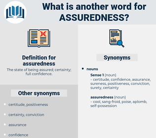 assuredness, synonym assuredness, another word for assuredness, words like assuredness, thesaurus assuredness
