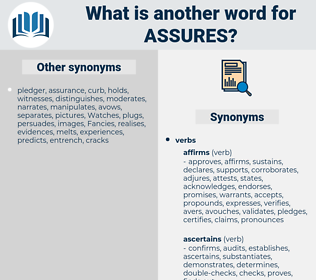 assures, synonym assures, another word for assures, words like assures, thesaurus assures