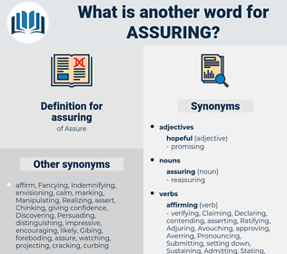 assuring, synonym assuring, another word for assuring, words like assuring, thesaurus assuring