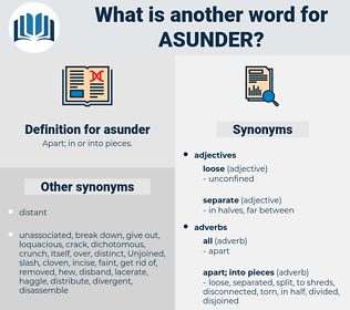 asunder, synonym asunder, another word for asunder, words like asunder, thesaurus asunder