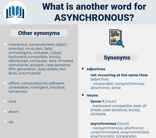 asynchronous, synonym asynchronous, another word for asynchronous, words like asynchronous, thesaurus asynchronous