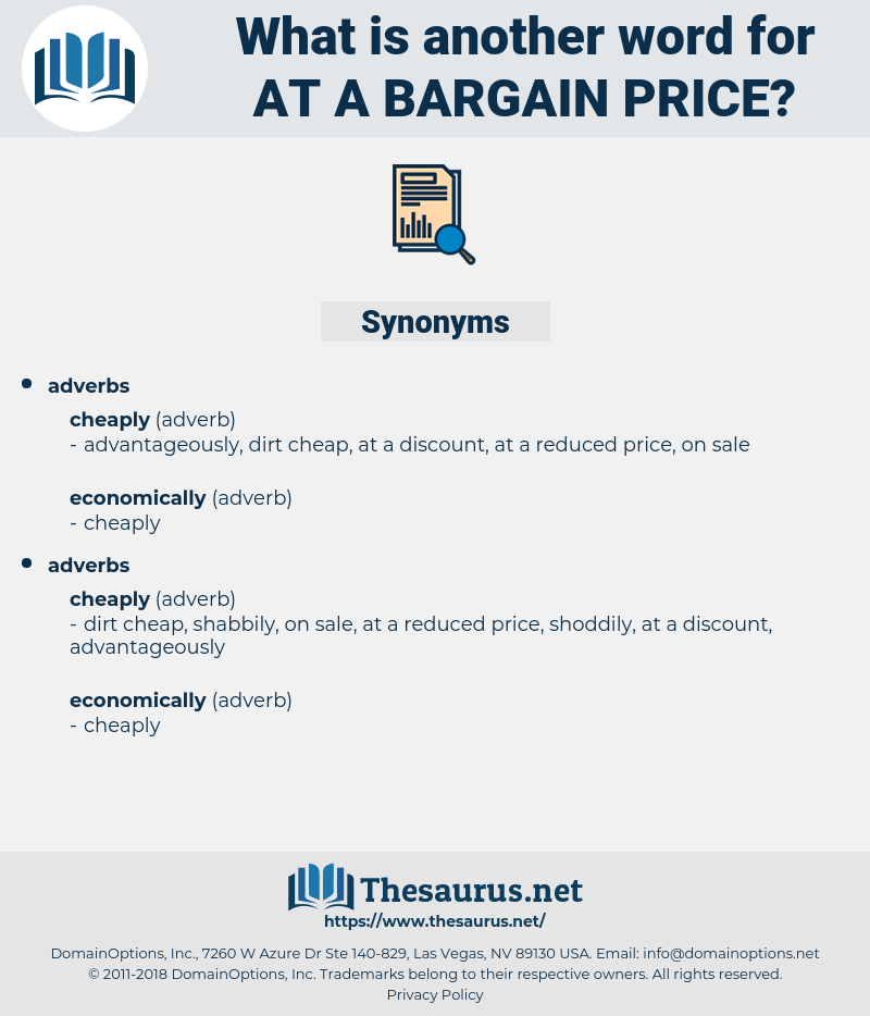 Synonyms For At A Bargain Price Thesaurus Net
