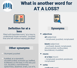 at a loss, synonym at a loss, another word for at a loss, words like at a loss, thesaurus at a loss