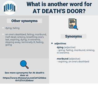 at death's door, synonym at death's door, another word for at death's door, words like at death's door, thesaurus at death's door