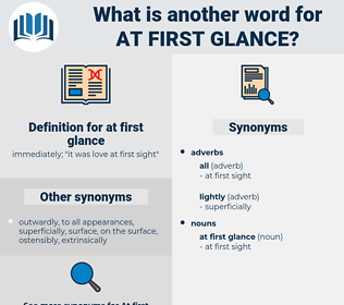 at first glance, synonym at first glance, another word for at first glance, words like at first glance, thesaurus at first glance