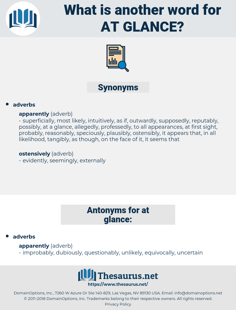 at glance, synonym at glance, another word for at glance, words like at glance, thesaurus at glance