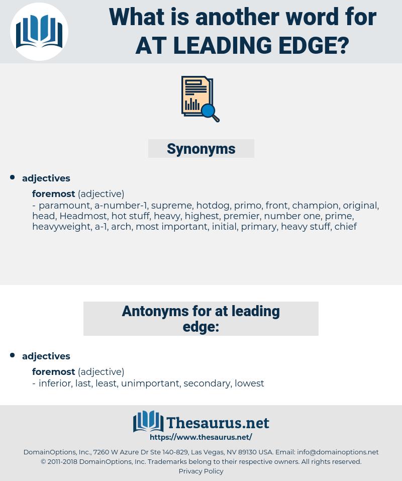 at leading edge, synonym at leading edge, another word for at leading edge, words like at leading edge, thesaurus at leading edge