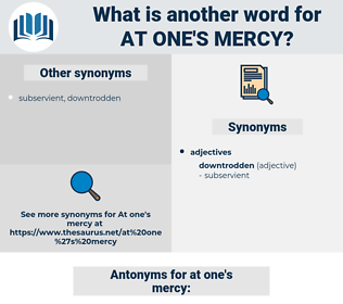 at one's mercy, synonym at one's mercy, another word for at one's mercy, words like at one's mercy, thesaurus at one's mercy