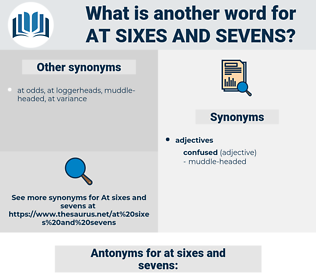 at sixes and sevens, synonym at sixes and sevens, another word for at sixes and sevens, words like at sixes and sevens, thesaurus at sixes and sevens