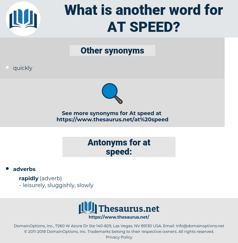 at speed, synonym at speed, another word for at speed, words like at speed, thesaurus at speed