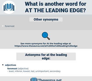 at the leading edge, synonym at the leading edge, another word for at the leading edge, words like at the leading edge, thesaurus at the leading edge