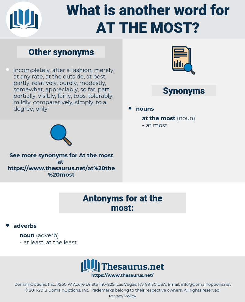 at the most, synonym at the most, another word for at the most, words like at the most, thesaurus at the most
